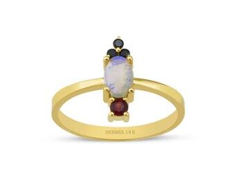 14k Gold Fine Opal Jewelry Ring