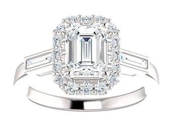 Forever One Moissanite Engagement Ring- Hadley | emerald | halo moissanite engagement ring