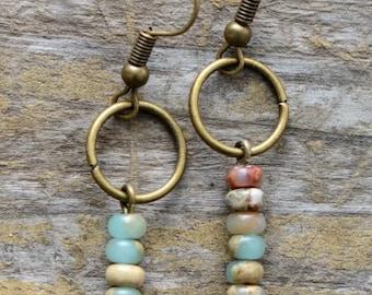 Sone Earrings Dangle Earrings Leaf Earrings Boho Earrings Handmade Earrings Fashion Earrings Statement Earrings Gifts for Her