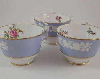 Copeland Spode Maritime Rose blue tea cups
