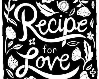 Recipe for Love Print - Home Decor