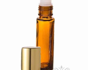 6 Amber Glass 10 ml -1/3 oz.  ROLL ON Bottles with Gold metallic  Cap essential oil PERFUME fragrance body oil attar cosmetic high quality