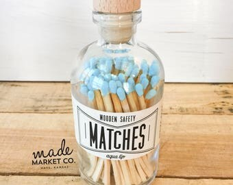 Powder Blue Tip Colored Matches Match Sticks Decorative Glass Bottle Farmhouse Home Decor Unique Gifts for her Best Seller Most Popular Item