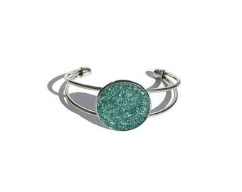 druzy bracelet, aqua druzy, drusy jewelry, under 20 dollars, geode, geode jewelry, cuff bracelet, crystal bracelet, silver cuff bracelet