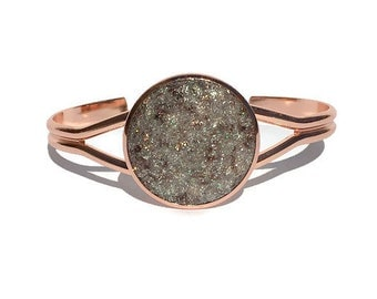 Rose gold Druzy bracelet, Druzy jewelry, brown Druzy, cuff bracelet, geode jewelry, geode bracelet, under 20 dollars, rose gold cuff, drusy