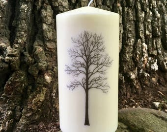 Tree Silhouette Candle, Tall Pillar Candle, Fall Decor, Autumn Candle Centerpiece Decor, Gift, White & Black