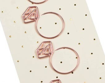 Set of 4 rose gold paperclip.