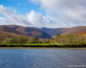 View of landscape from Loch Linnhe, Scotland, photography
