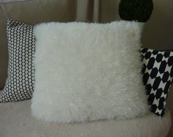 White furry wool knit pillow