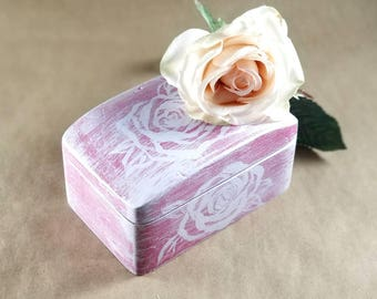 Girly pink wooden box,hand painted,small rustic box,rustic decor,floral jewelry box, wooden ring box,white roses box,girly decor,gift idea