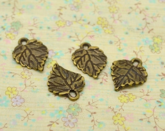 4 x charm tree bronze vine leaf