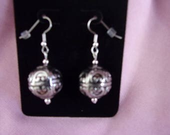 Silver acrylic earrings on stainless steel wires