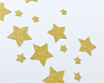 Handmade paper glitter star shaped confetti // Small Party Shiny Decoration Birthday Babyshower Christmas Gold Pink Silver Purple White