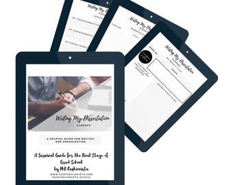 Dissertation Organization Writing Planner Sheets -Digital Download - Writing My Dissertation Planner