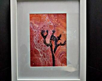 "Framed acrylic pour art  ""Joshua Tree"""