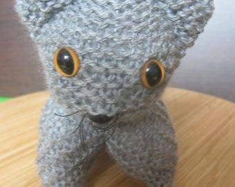 Gray kitten made entirely by hand
