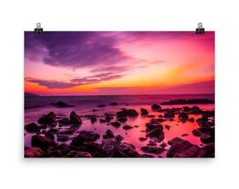 Matte Print Intense Sunset Over a Rocky Ocean