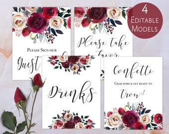 Wedding Signs Editable PDF Printable SET Template,Burgundy Bordo & Pearl Watercolor Flowers Kit Fall Wedding reception DIY, Digital Print