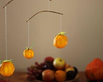 Mobile with Three Pumpkins (Decoration for Halloween, Seasonal Autumn-Decoration)
