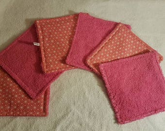 Set of 6 wipes washable demaquillantes pink