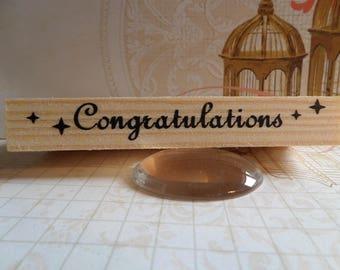 Stamp wood rectangular congratulations