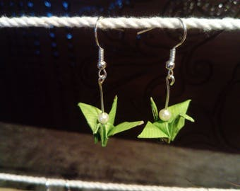 """Cranes"" green origami earrings"