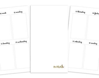 Personal March Weekly Printable Insert - TN/Ring Planner - Plain Cover