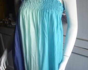 Short blue dress with cotton straps