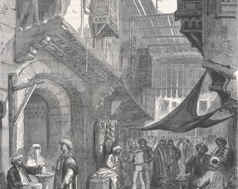 The Suez Bazaar, Cairo, Egypt 1869 - Old Antique Vintage Engraving Art Print - Men, Market, Crowded, Selling, Dog, Sandals, Arch, Canopy