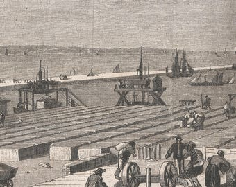 Construction Site of the Port Said Jetees Foundation Blocks, Egypt 1867 - Old Antique Vintage Engraving Art Print - Construction, Jetty