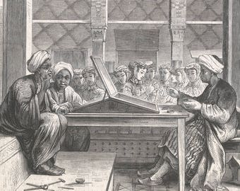 Curious Types at Universal Exhibition - The Watermark Producer in the Egyptian Bazaar, Egypt 1867 - Old Antique Vintage Engraving Art Print