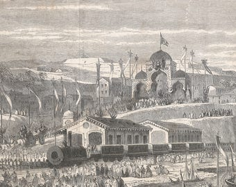 Algeria 1862, Railway Inauguration Train From Algiers To Blida, Old Antique Vintage Engraving Art Print, Train, Station, Building, Pitched