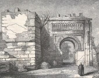 Algeria 1846, The Gate of Agadir, monument preserve of the old Tlemcen, Old Antique Vintage Engraving Art Print, Archway, Segemental