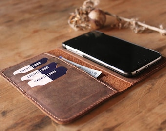 Personalized Leather iPhone 6, 7, 8 Wallet, Leather iPhone Case,  iPhone walletcase, Distressed Leather