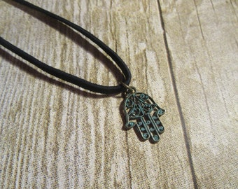 Hamsa Hand Necklace, Hamesh Hand Necklace/ Luck, Protection, Happy Necklace/ Black Fuax Leather Choker Necklace/ Brass Patina Charm Necklace