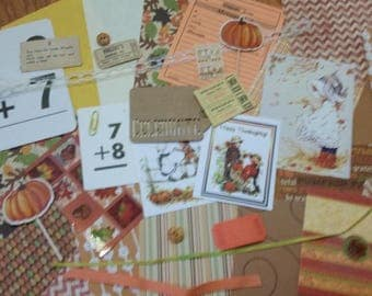 Holly Hobbie Thanksgiving Autumn Inspiration Kit #2 / 30+ Pieces / Vintage & New / Collage pack/junk journal pack / pen pal lot