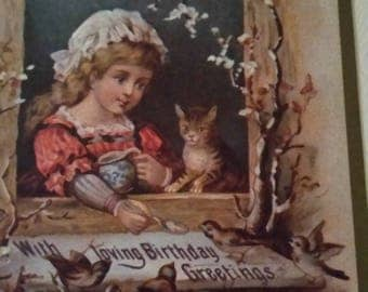 Vintage Greeting Card - Embossed Victorian Birthday Card - Ambassador Heirloom Classics - Little Girl with Kitten