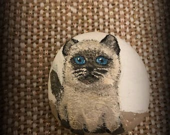 Siamese Kitten Paperweight Painted Rock