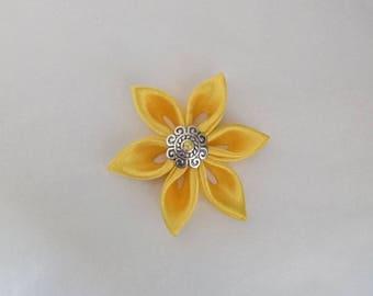 Flowers kanzashi handmade yellow satin