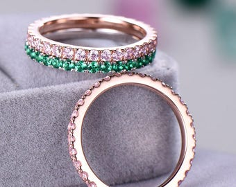 3pcs Full eternity wedding band Wedding ring sets sterling silver with white/rose gold plated 2mm Pink / Green CZ Cubic Zircon Pave Set