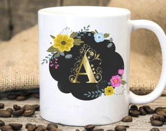 Gold Monogram Mug,Personalized Mug,Bridesmaid Gift,Gold letters cup,Personalized Gift,Custom Mug,Friend Gift,Teacher Gift,Bridal Party mug,