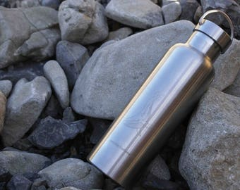 Stainless Steel Water Bottle, 750ml, Whale Design, Everyday Sustainable