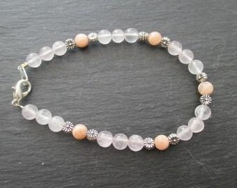 Bracelet en quartz rose et pierre de lune - 1218