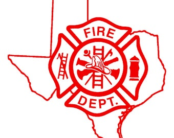 5.5 IN Texas State Firefighter Maltese Cross - in Red, Pink, or White