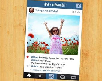 INSTAGRAM Invitation,Instagram Birthday Invitation,Instagram themed party.instagram frame birthday invitation.Instagram teen invitation