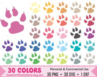 Bear Paw Clipart, Footprint planner SVG Silhouette Cricut Cut File Commercial Use (Png Svg Dxf)