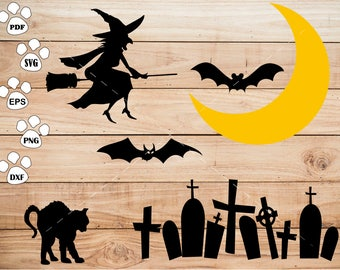 Halloween Witch svg Files, Bat svg, Cat svg, Moon svg, Cemetery Clipart, cricut, cameo, silhouette cut files commercial use