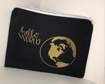 Hello World Canvas Pouch