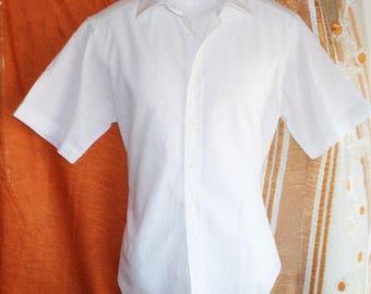 Aquascutum VTG Rare High Quality Men's Short Sleeve Cotton Shirts,41/16,White
