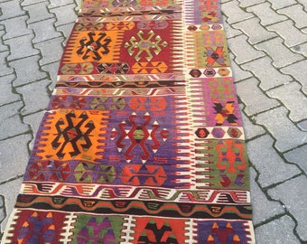 Free Shipping old vintage runner rug  1960's